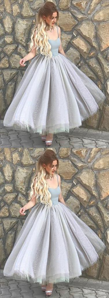 Custom Made Silver Tulle A Line Midi Homecoming Dress