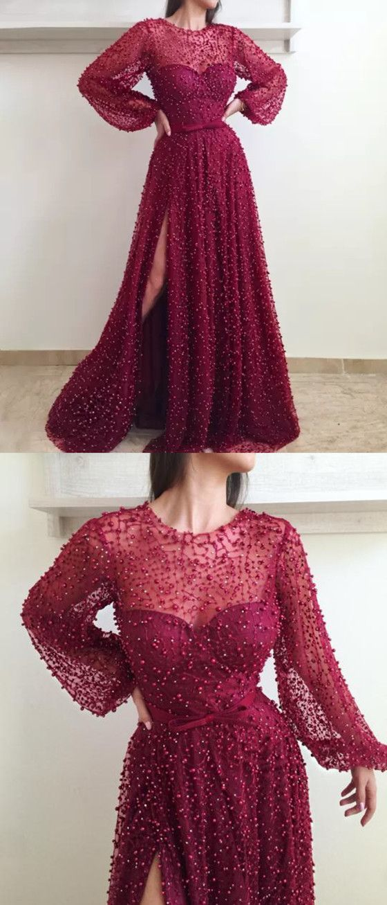 A-line Round Neck Long Sleeves Beading Prom Dresses With Split
