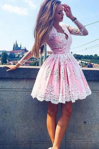 long sleeves homecoming dress, pink homecoming dress, 2017 short homecoming dress, lace homecoming dress