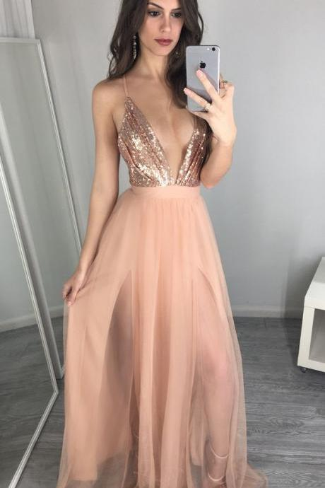 shiny pink spaghetti straps party dress, sexy deep v-neck party dress with sequins B0412