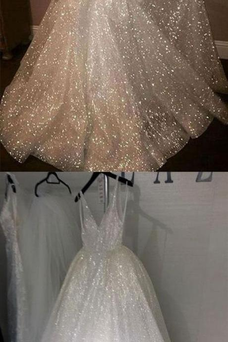 Sparkly A-Line V-Neck White Sequined Long Prom/Evening Dress with Open Back B0837