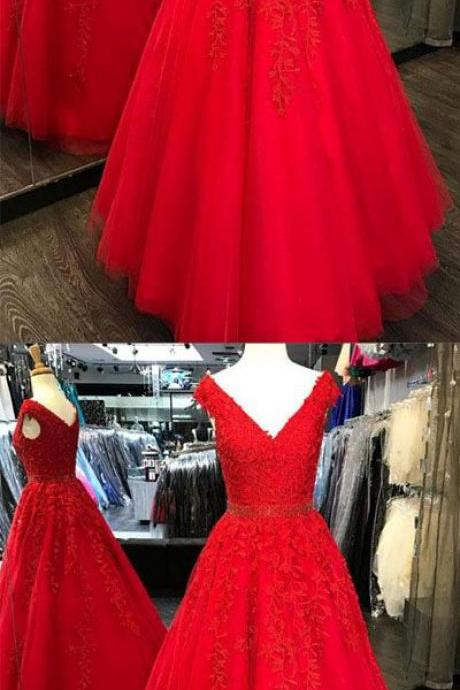 Charming A-Line V-Neck Cap Sleeves Red Tulle Long Prom Dress with Appliques B0860