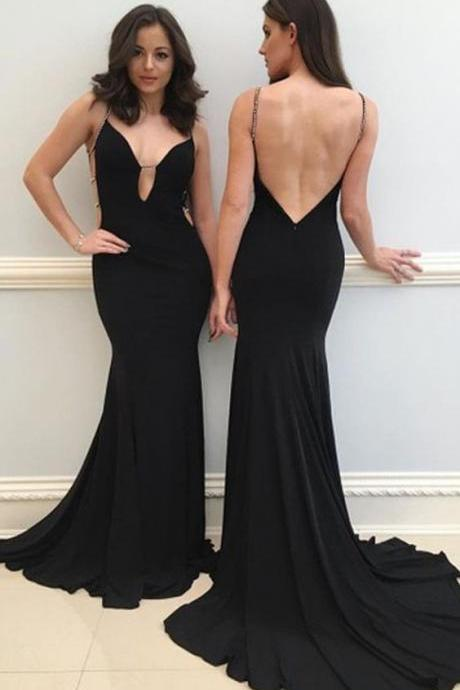 sexy spaghetti straps black prom dress with sweep train, fashion bodycon mermaid open back evening dress with beading B1505