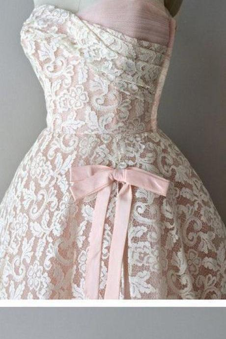 Strapless Pink Lace Unique Style Vintage Cheap Homecoming Prom Gowns Dress