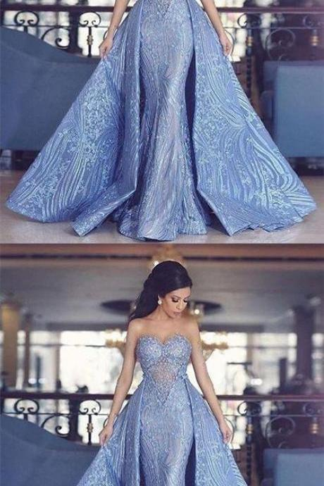 Elegant Sweetheart Mermaid Prom Dress With Detachable Train,Fashion Blue Evening