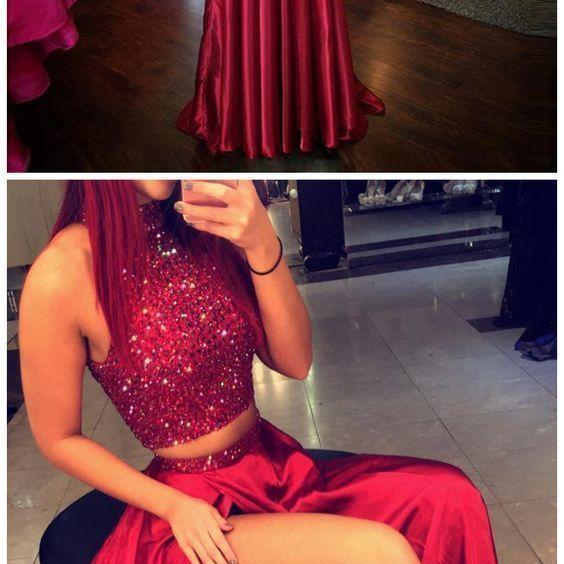 Prom Dresses,Long Prom Dresses,Red High Neck Two Piece prom gown